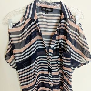 Cold Shoulder Preppy Striped Sheer Blouse Small